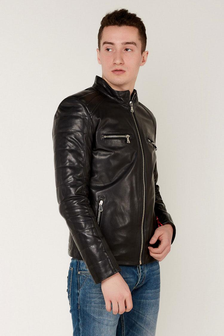Куртка мужская из натуральной кожи черная, модель E-27