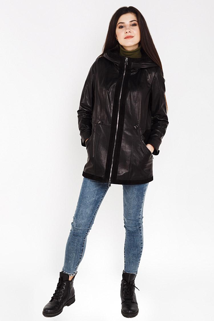 Куртка женская из натуральной кожи черная, модель B 2005/KPS