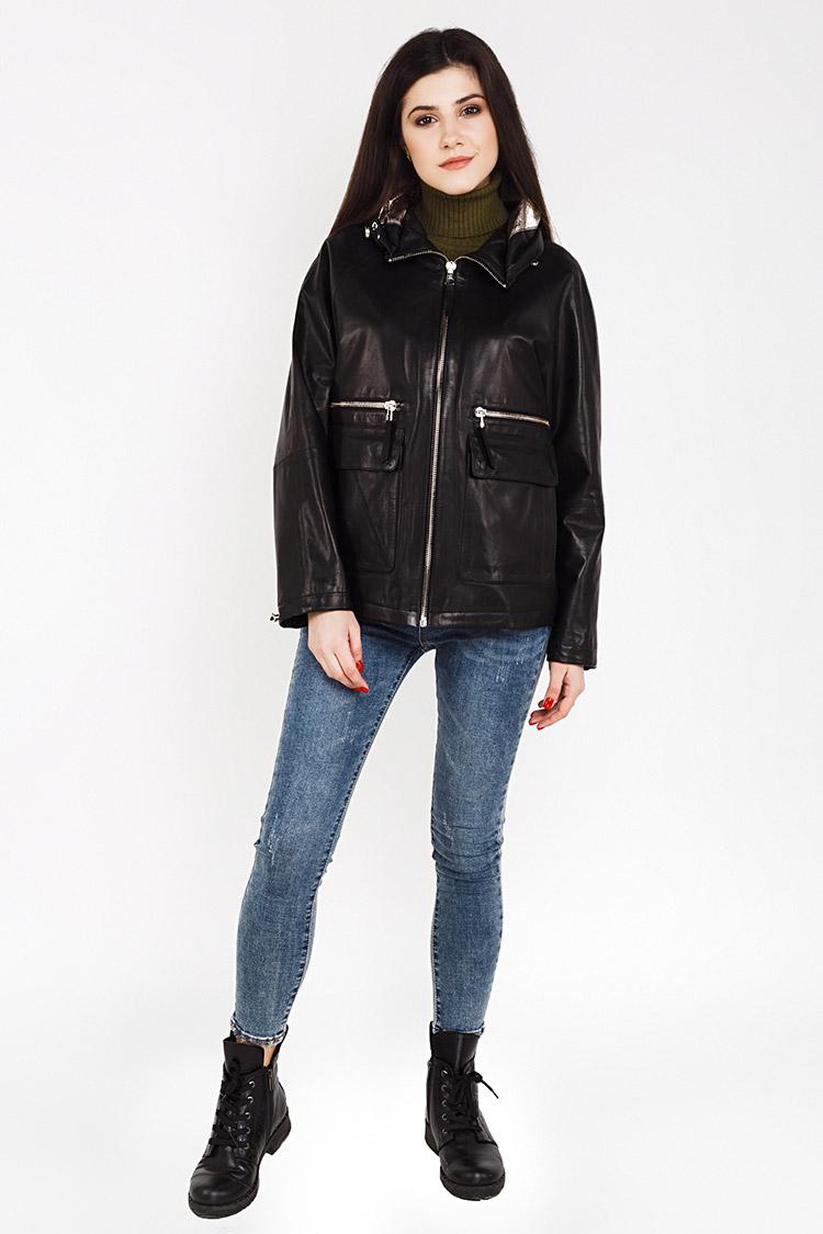 Куртка женская из натуральной кожи черная, модель B-2160/KPS
