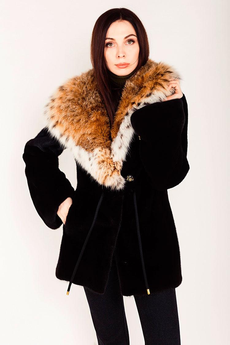 Шуба женская из норки коричневая, модель 0326/75