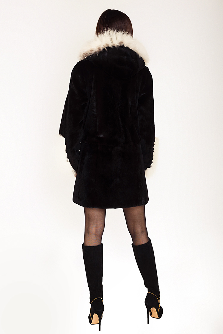 Шуба женская из норки черная, модель 0333/80/KPS