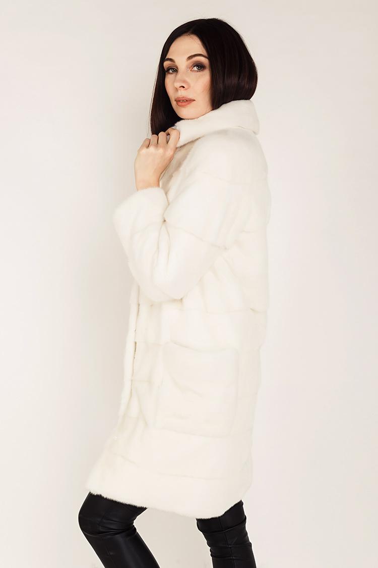 Шуба женская из норки белая, модель 0348/90