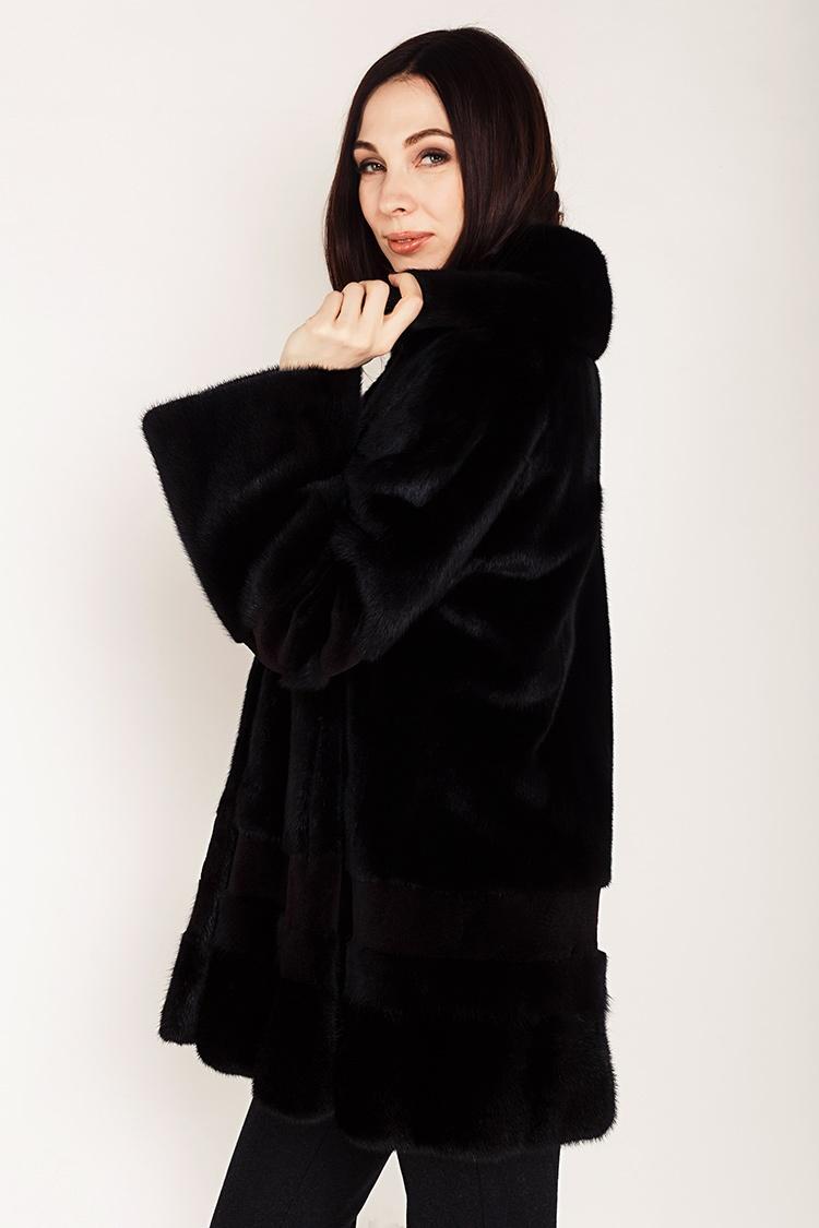 Шуба женская из норки черная, модель 0392/80