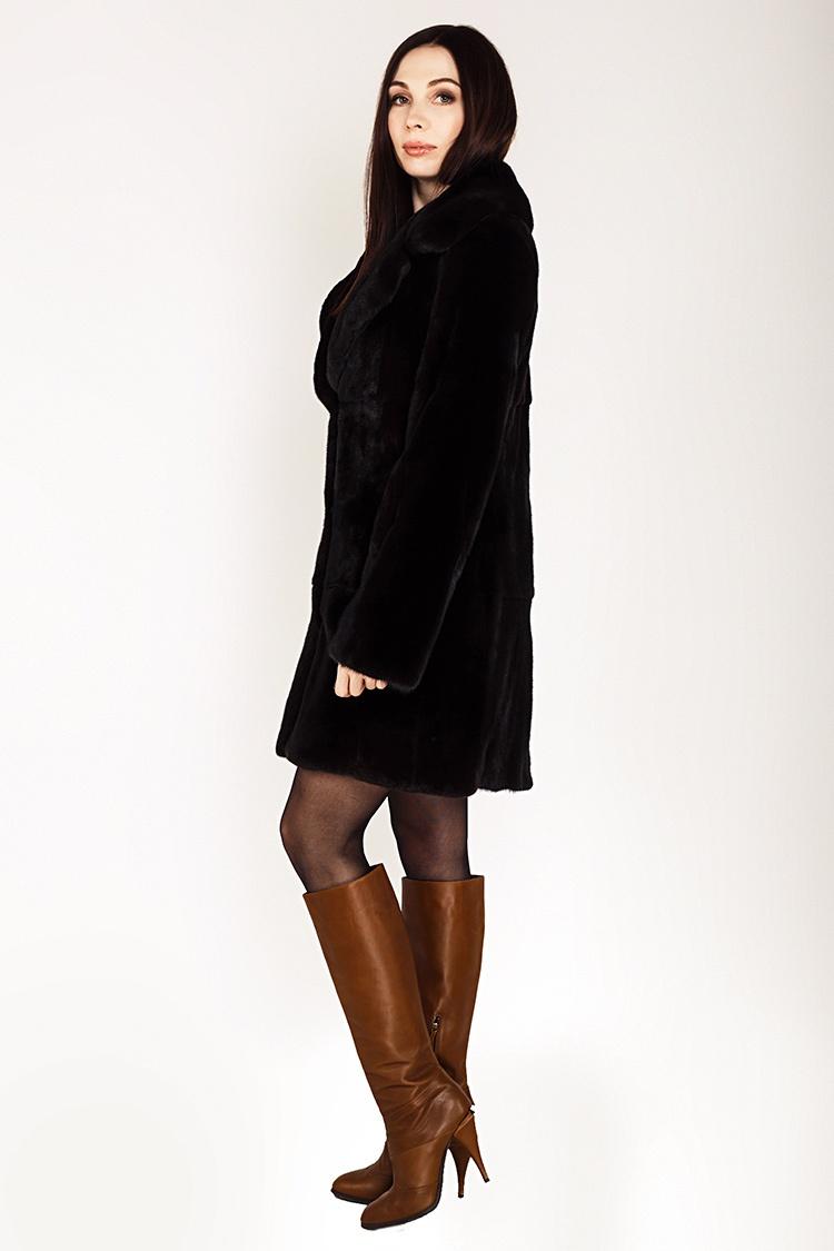 Шуба женская из норки коричневая, модель 0393/90