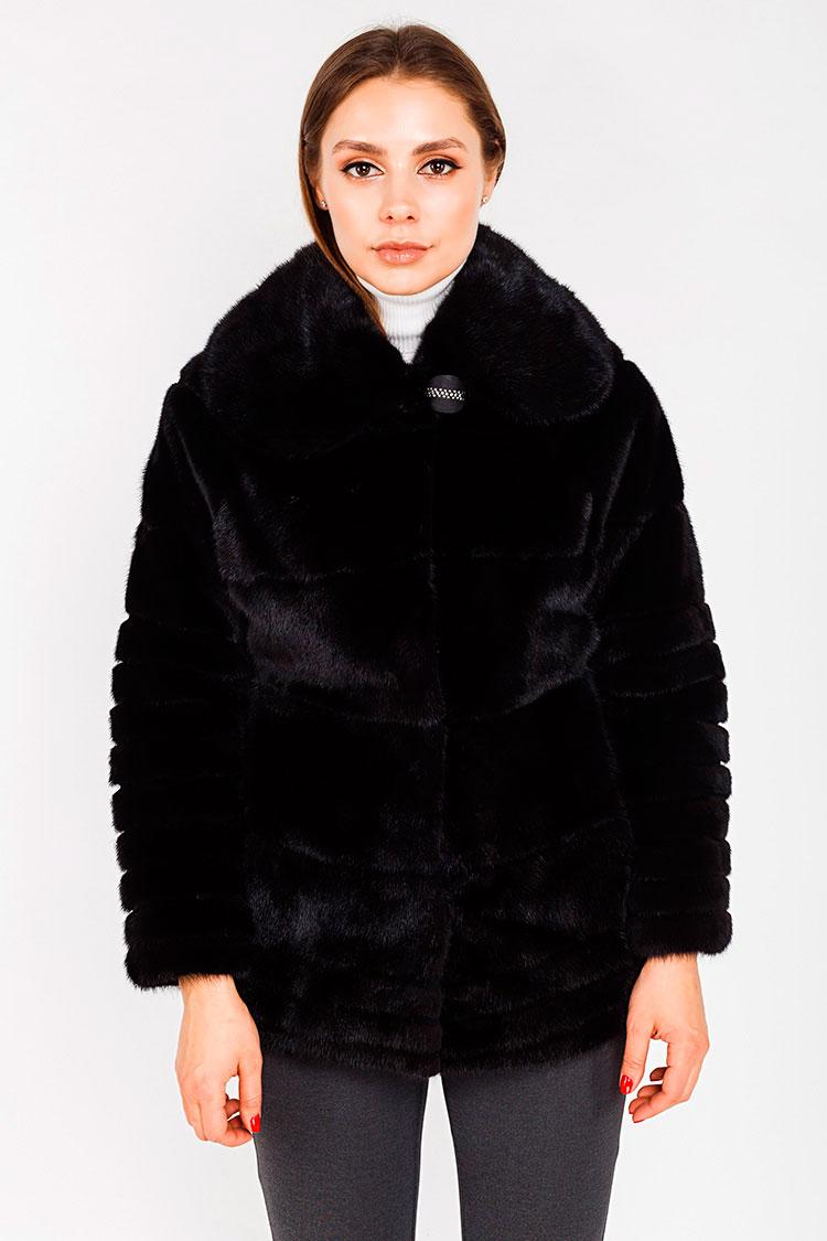 Шуба женская из норки черная, модель 03116/75
