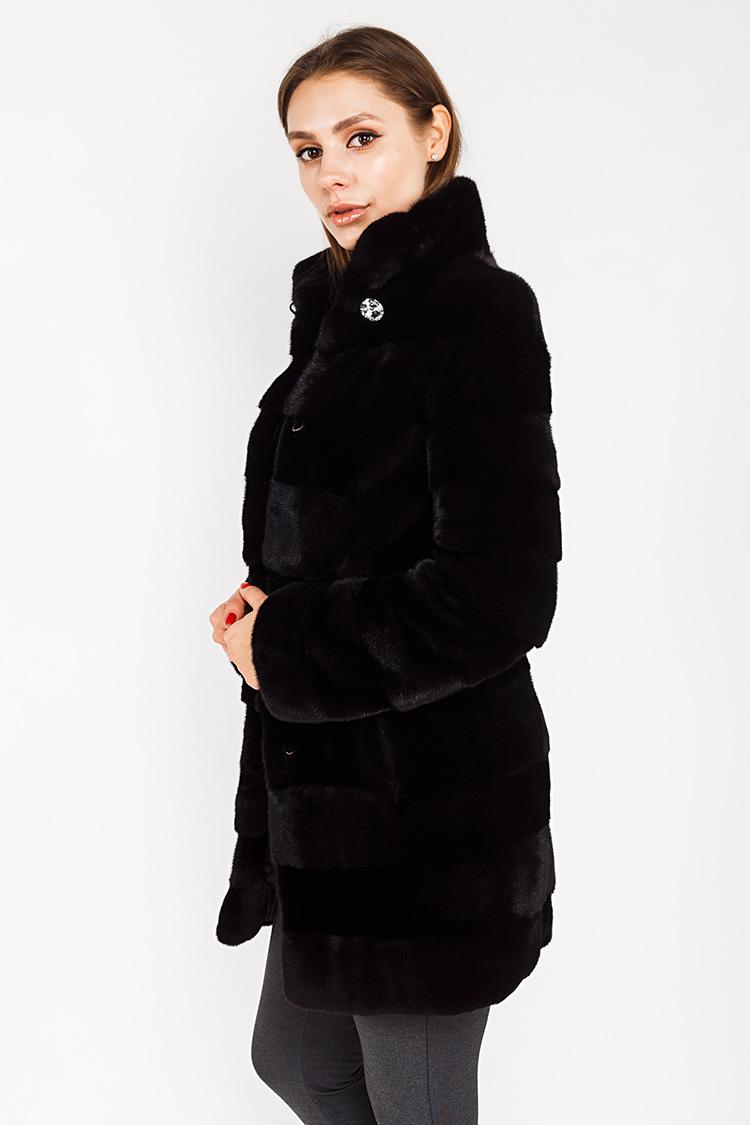 Шуба женская из норки черная, модель 03117/80