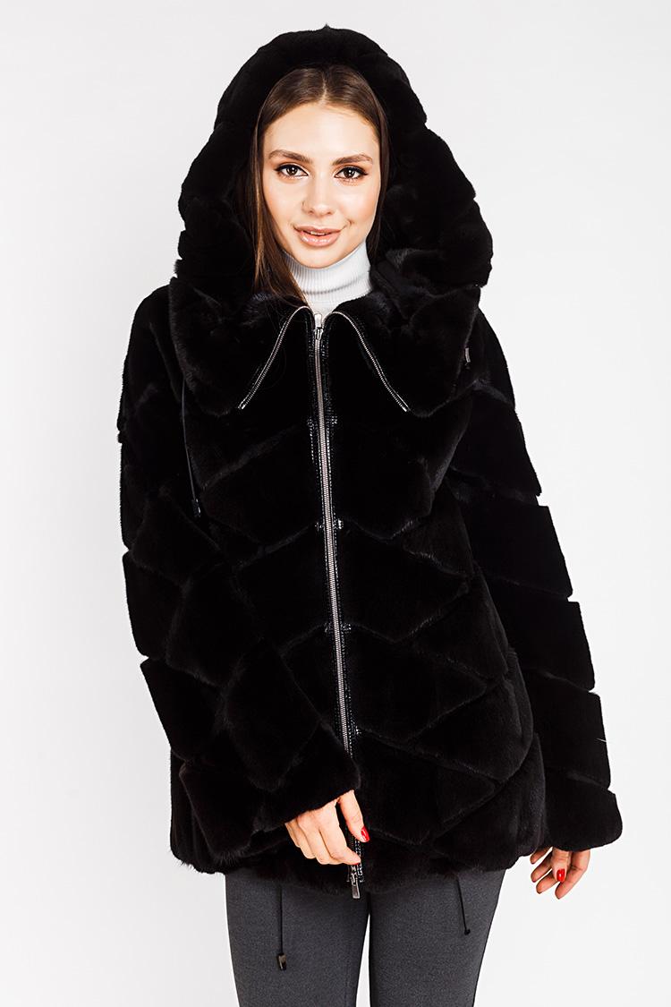 Шуба женская из норки черная, модель L 0010/77/KPS