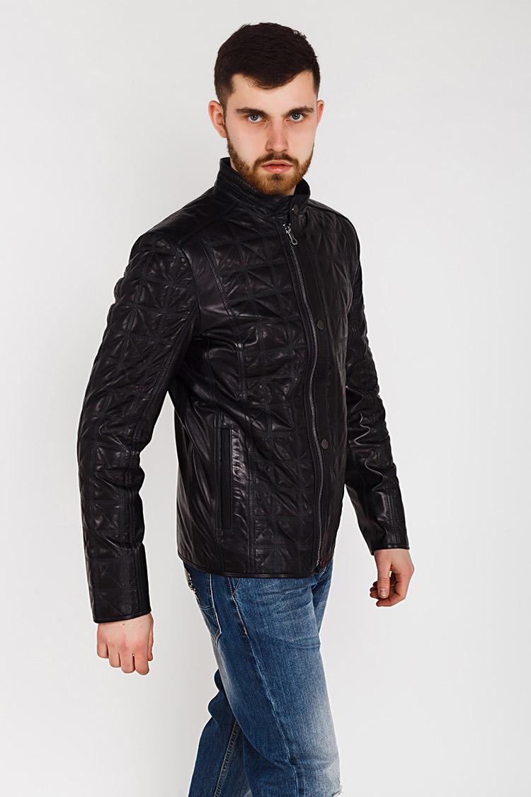 Куртка чоловіча з натуральної шкіри синя, модель E-11