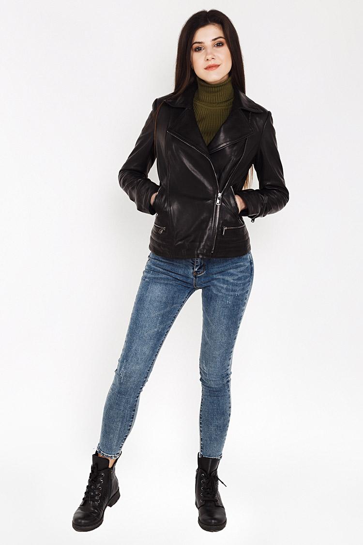 Куртка женская из натуральной кожи черная, модель M-805