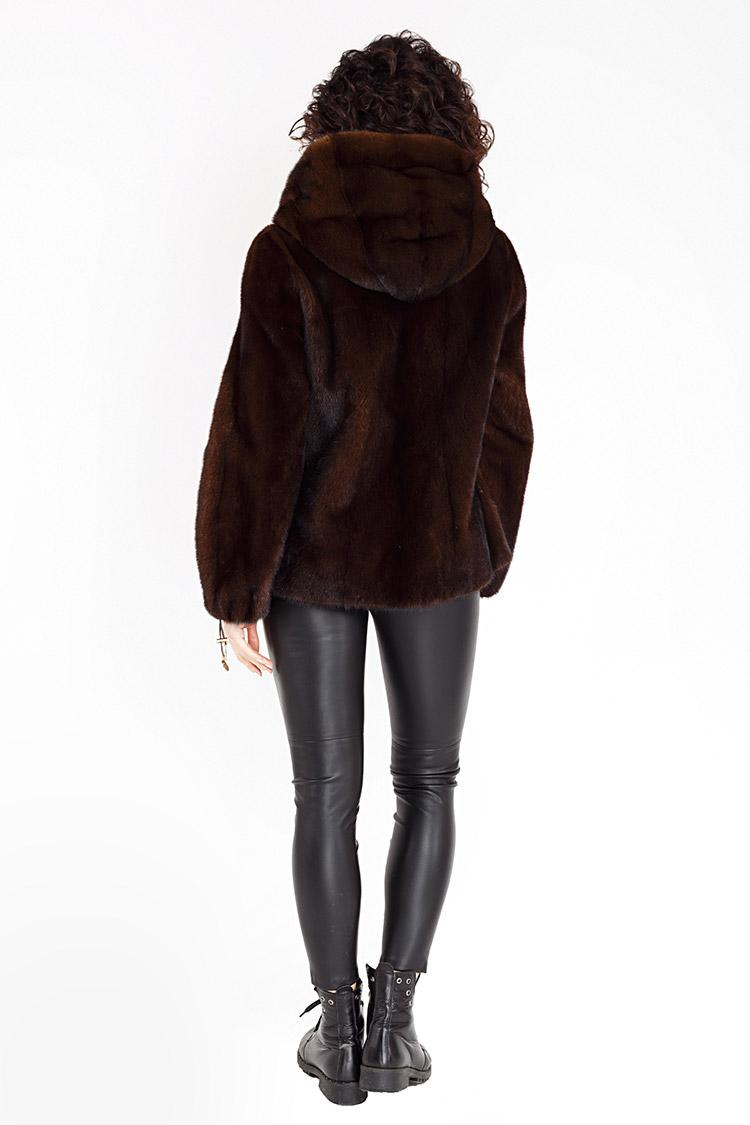 Шуба женская из норки коричневая, модель IRINA/70/KPS