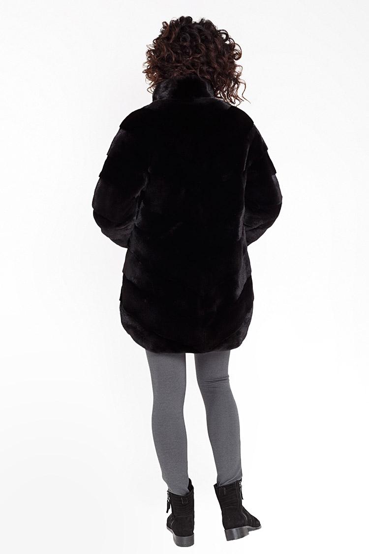 Шуба женская из норки мультиколор, модель 325D/85/двухстор
