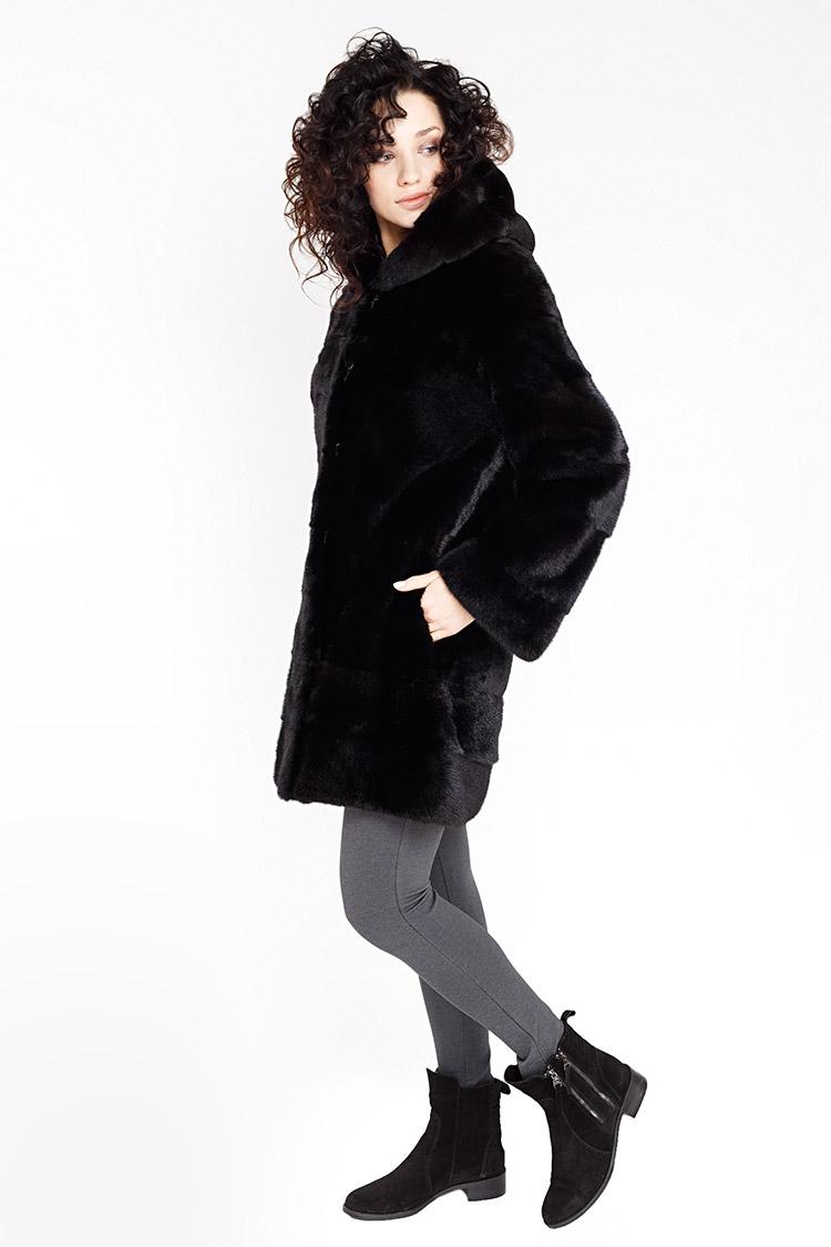 Шуба женская из норки черная, модель 5744/90/KPS