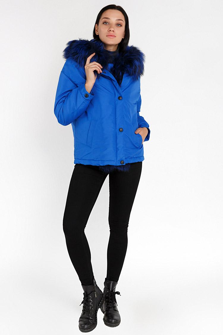Куртка женская из трикотажа синяя, модель 0033/KPS