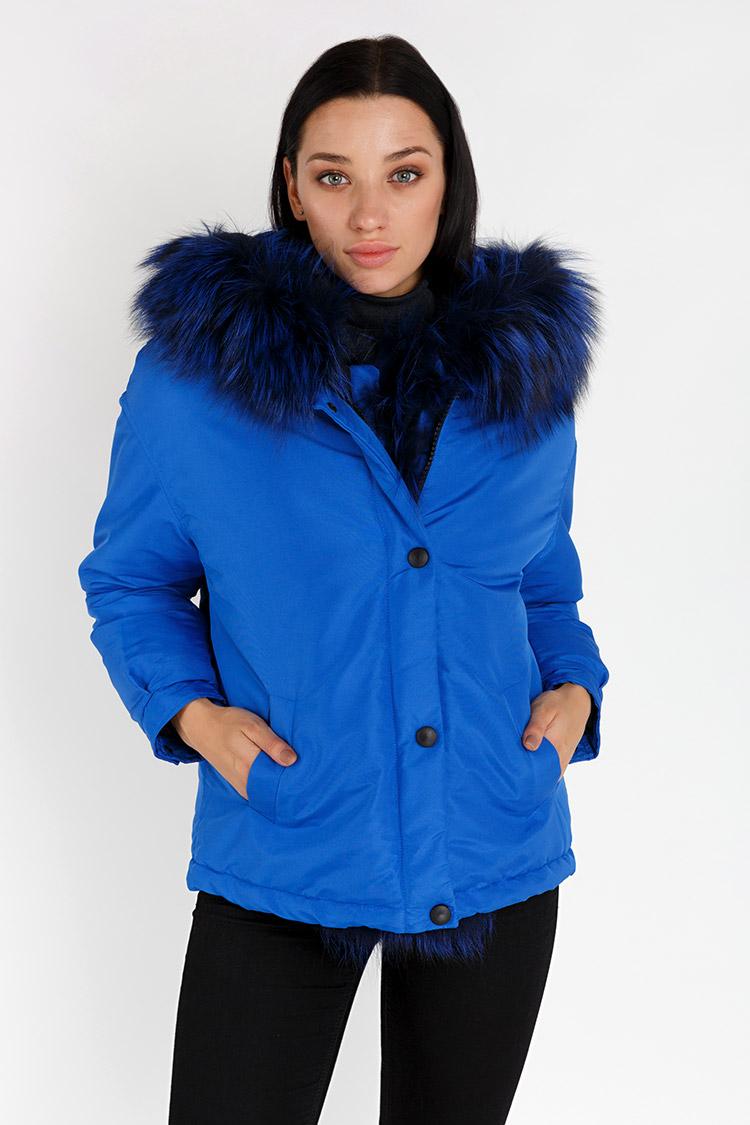 Куртка жiноча з трикотажу синя, модель 0033/KPS
