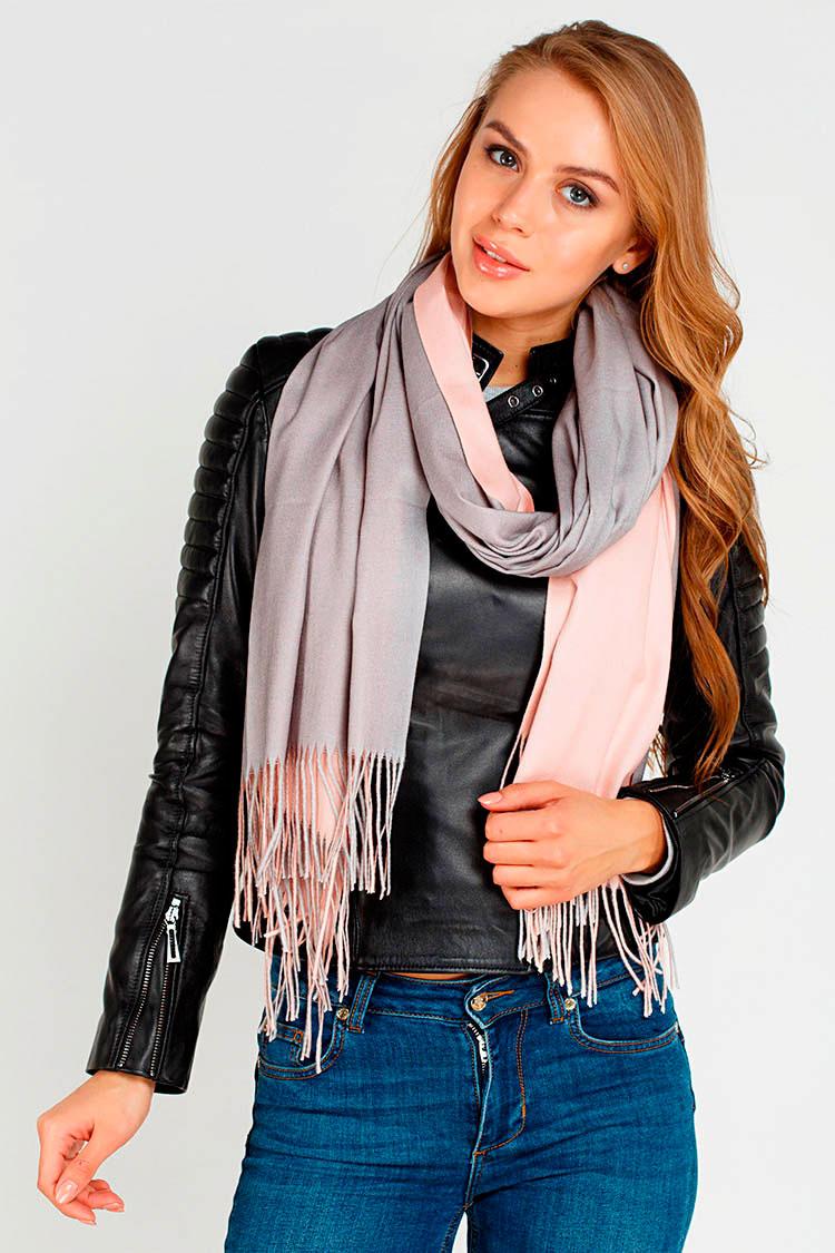 Шарф женский из трикотажа розовый, модель Palantin 2хст. с бахрамой