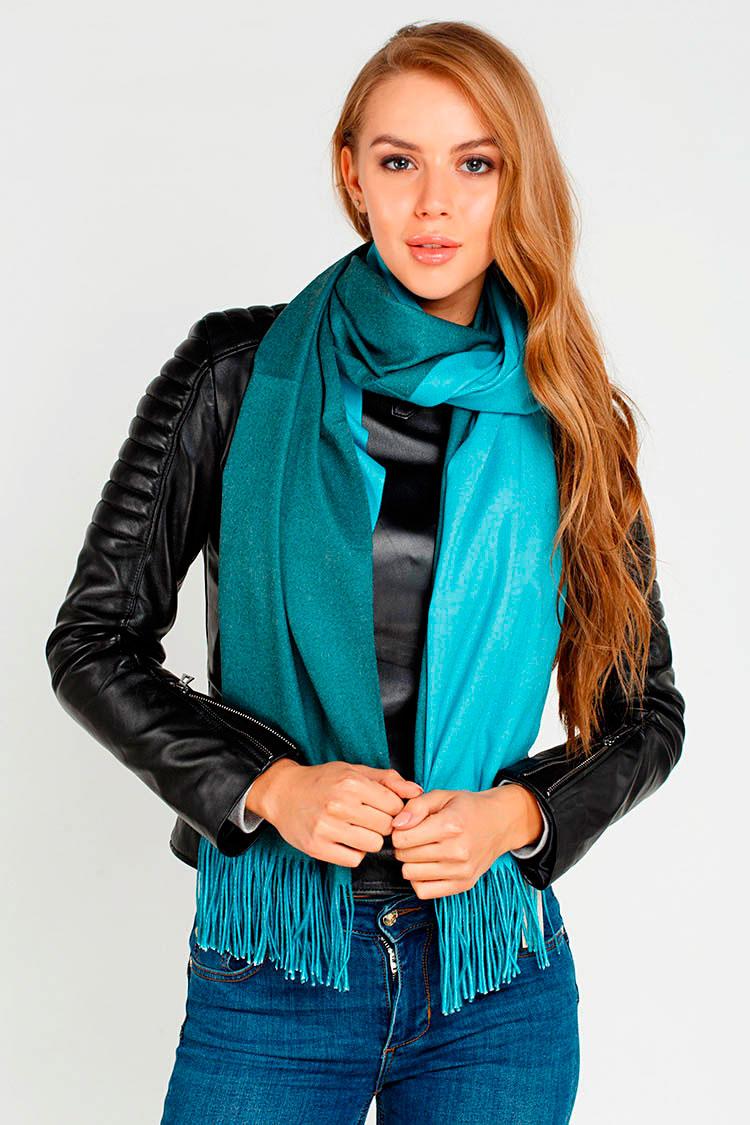 Шарф женский из трикотажа синий, модель Palantin 2хст. с бахрамой