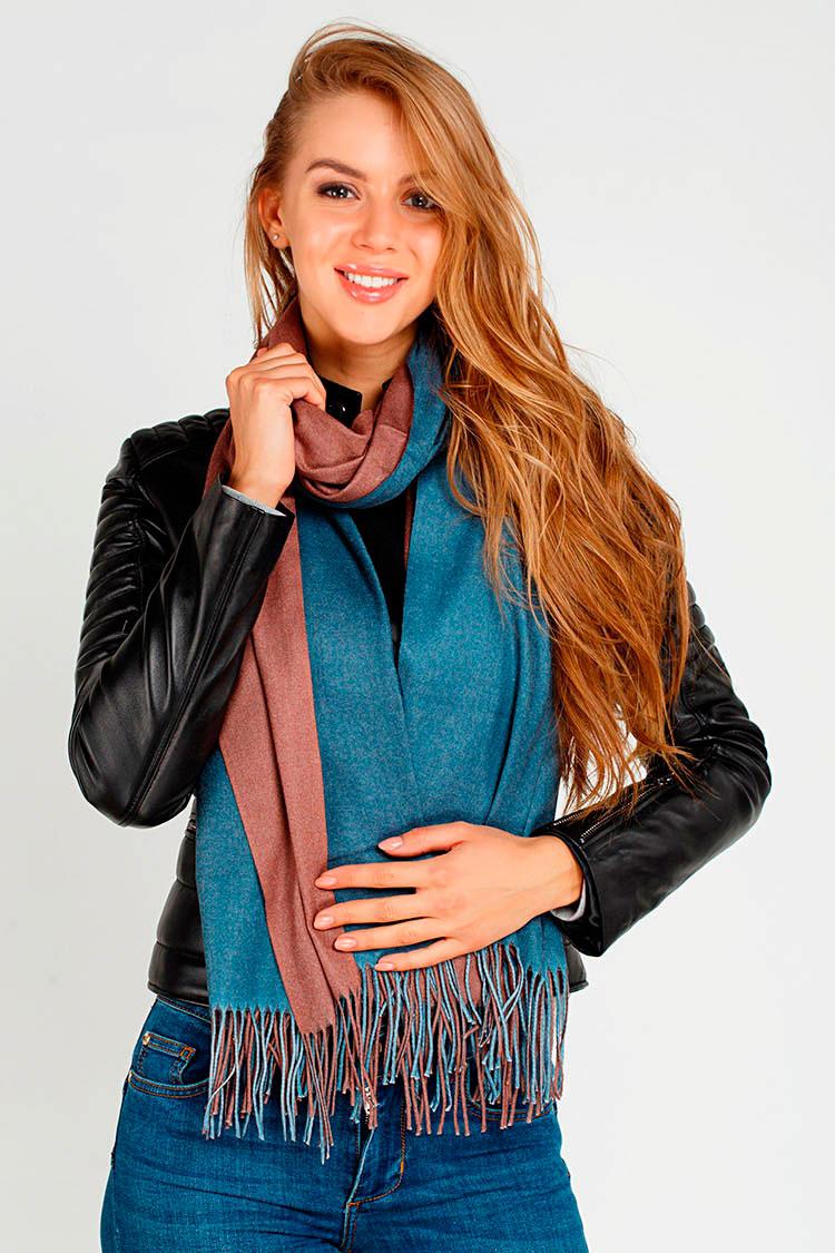 Шарф женский из трикотажа коричневый, модель Palantin 2хст. с бахрамой