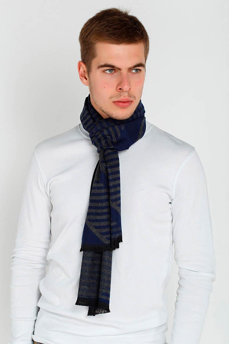 Шарф мужской из трикотажа серый, модель MORSKOY