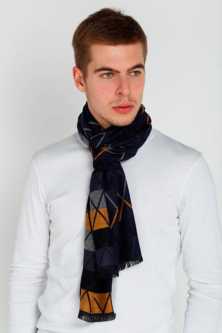 Шарф мужской из трикотажа мультиколор, модель Zigzag men-1