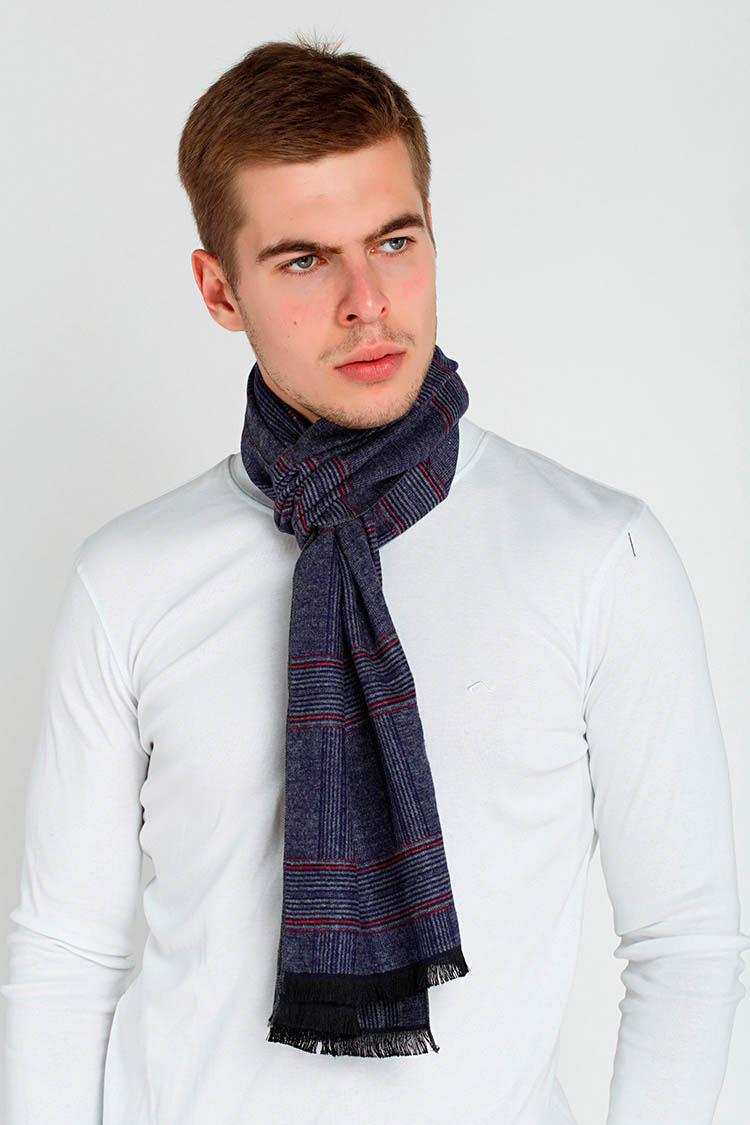 Шарф мужской из трикотажа серый, модель Setca