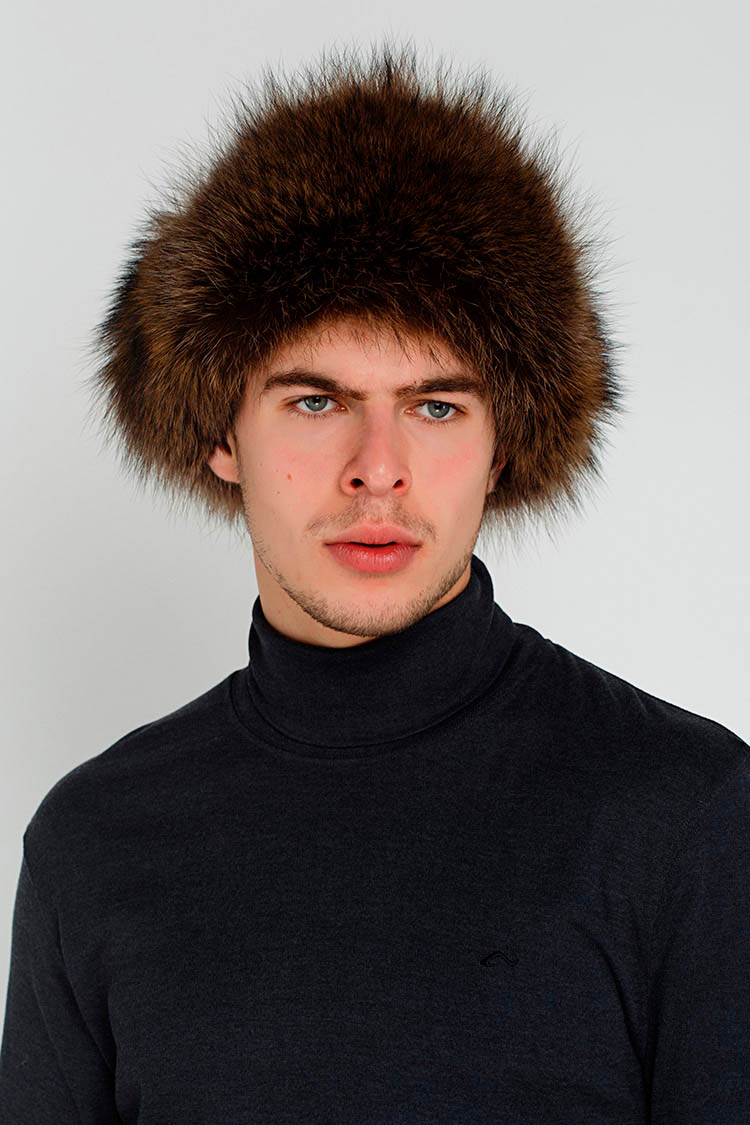 Шапка мужская из натуральной кожи черная, модель ушанка