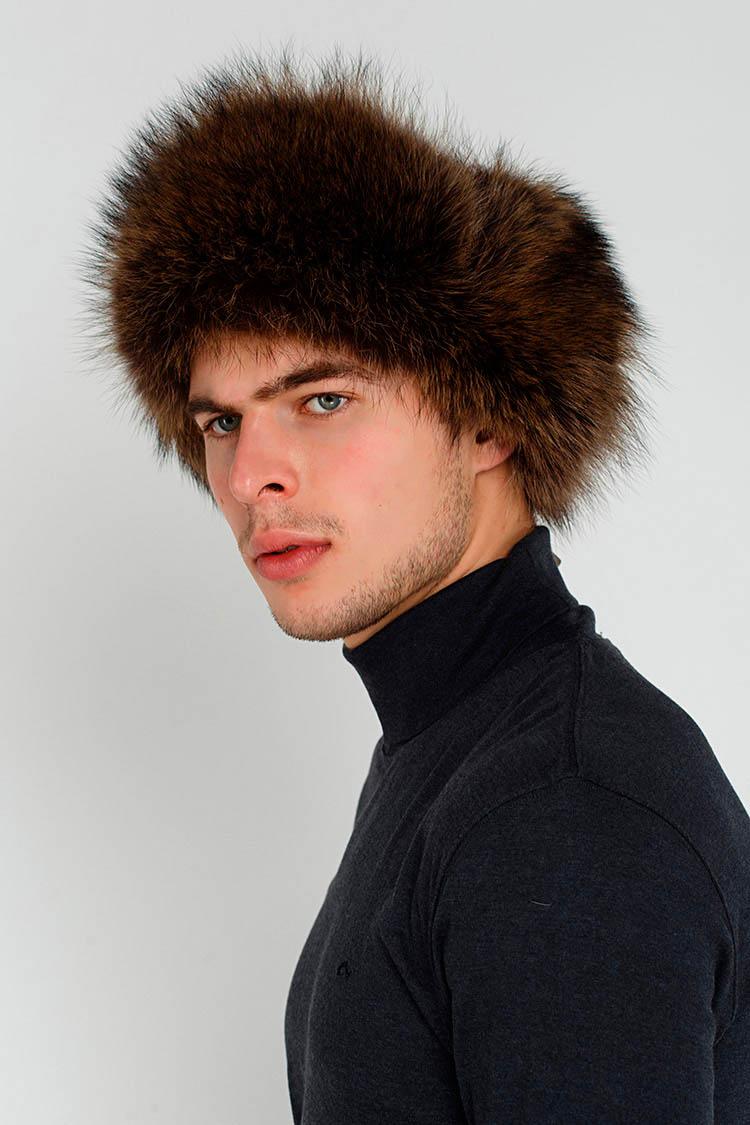 Шапка чоловіча з натуральної шкіри чорна, модель ушанка