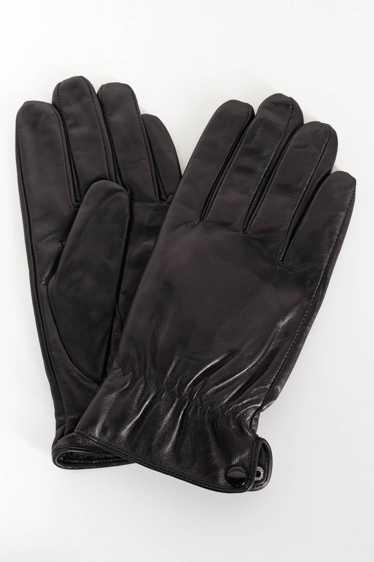 Перчатки мужские из натуральной кожи черные, модель 6010