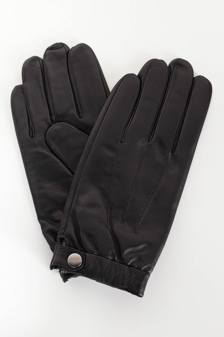 Перчатки мужские из натуральной кожи черные, модель G-L 141
