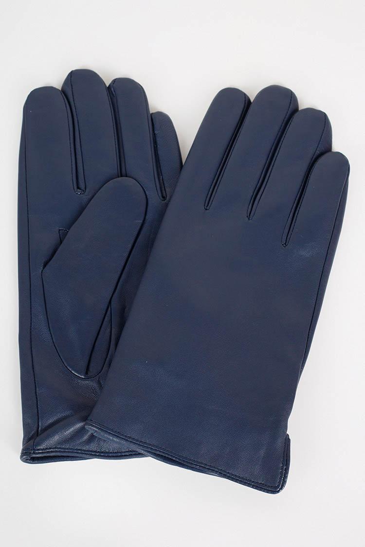 Рукавички чоловiчi з натуральної шкіри синi, модель GM-06-2