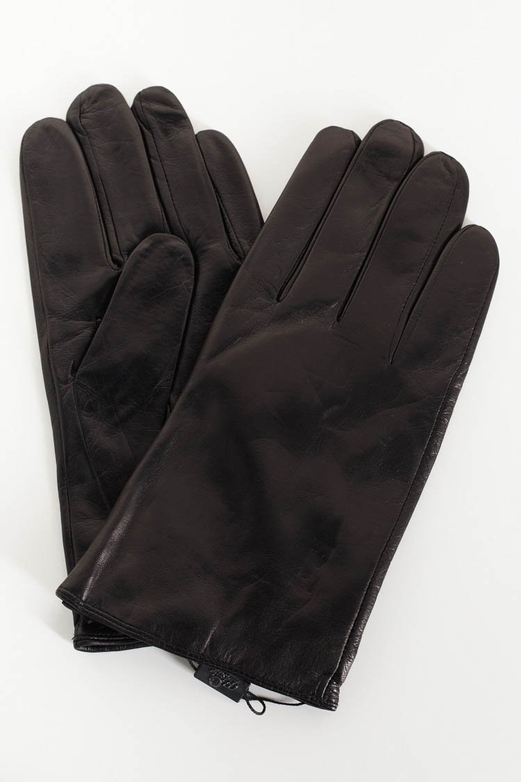 Перчатки мужские из натуральной кожи черные, модель 001B