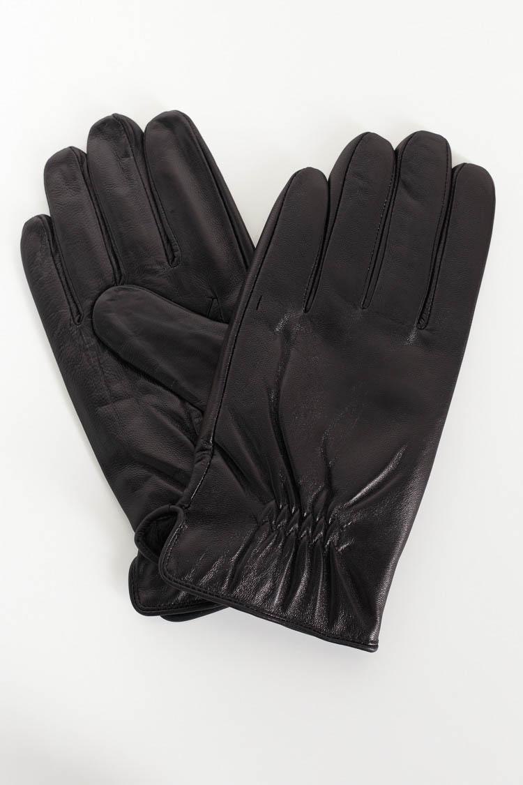 Перчатки мужские из натуральной кожи черные, модель G-16