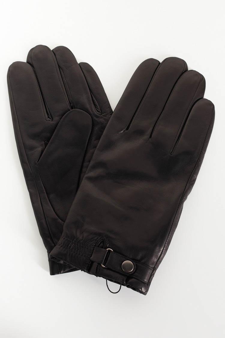Перчатки мужские из натуральной кожи черные, модель 10023
