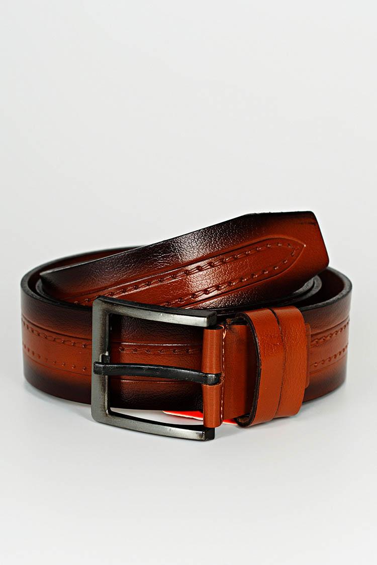 Ремень мужской из натуральной кожи коричневый, модель джинс/3110/2
