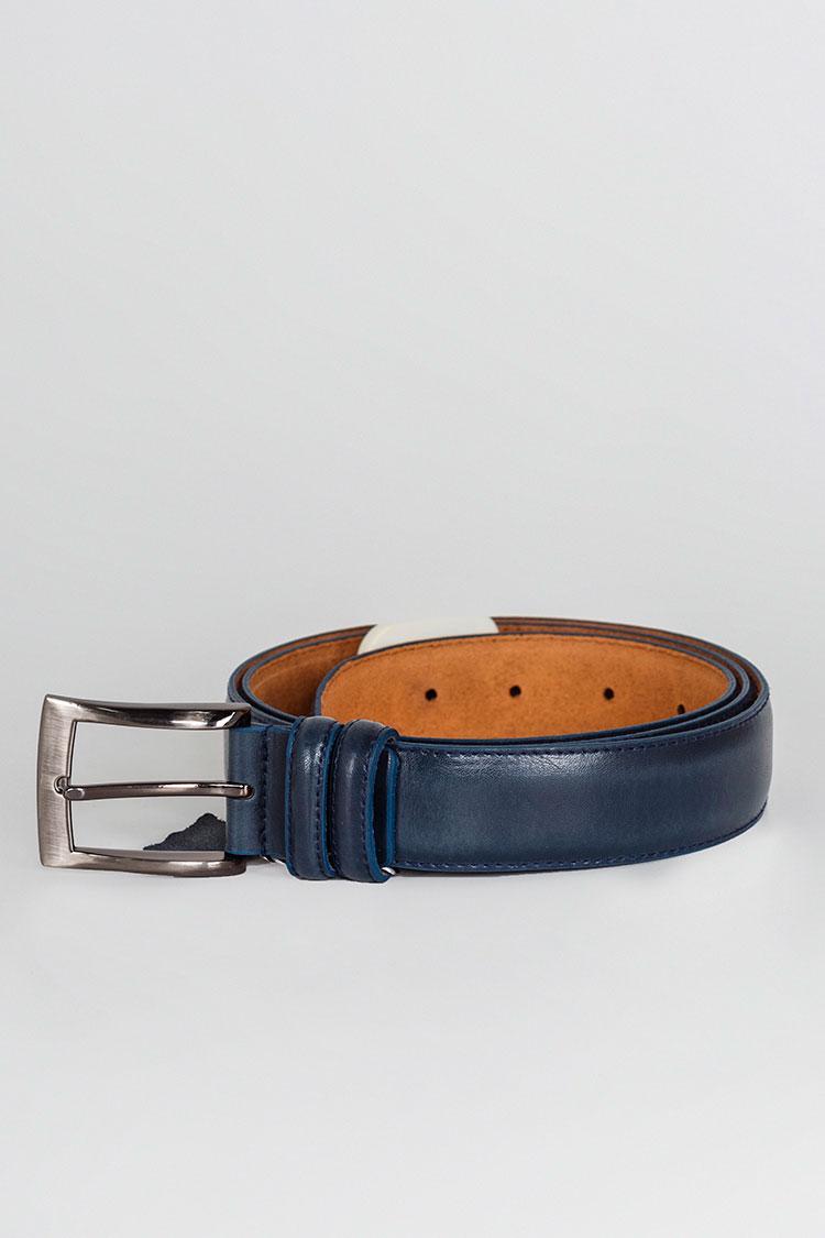 Ремень женский из натуральной кожи синий, модель классика/3110/1