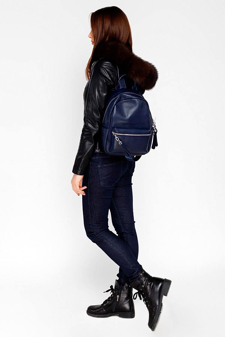 Сумка женская из натуральной кожи синяя, модель C 0125/рюкзак
