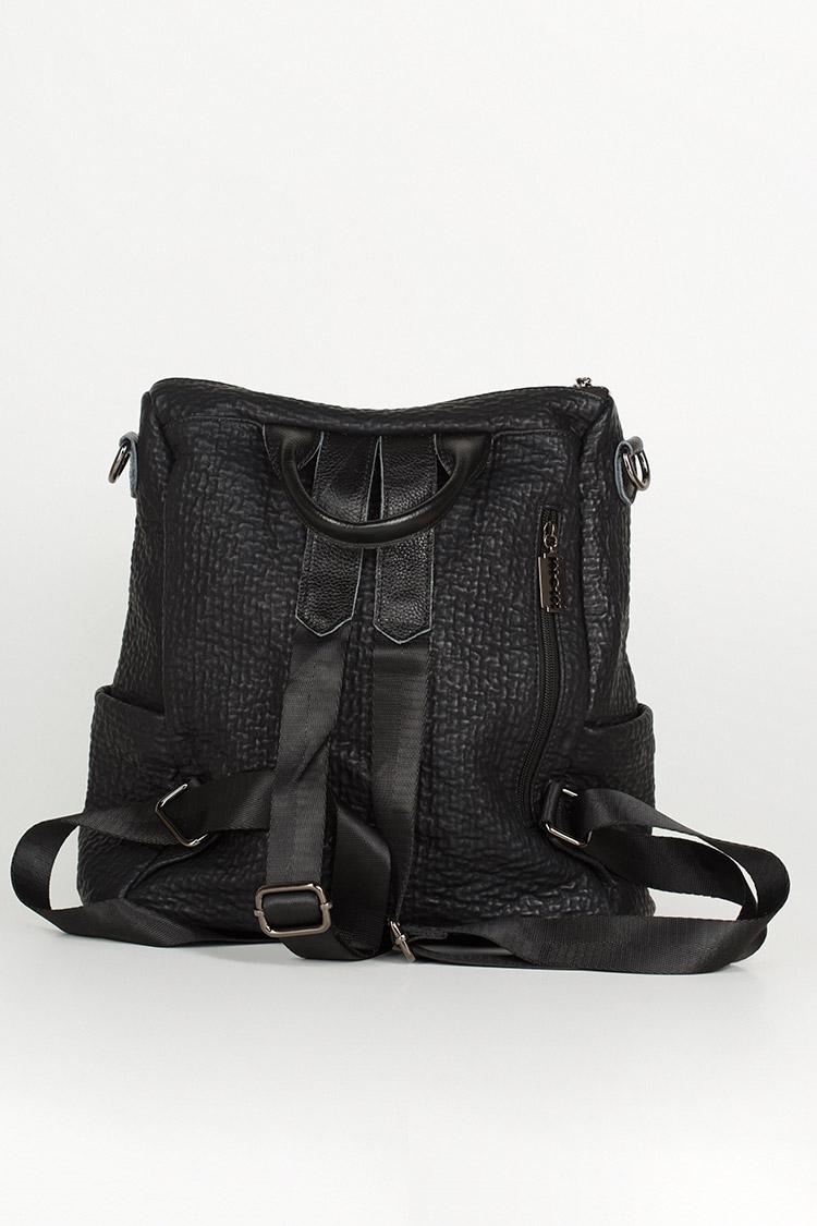 Сумка женская из экокожи черная, модель 98588/рюкзак