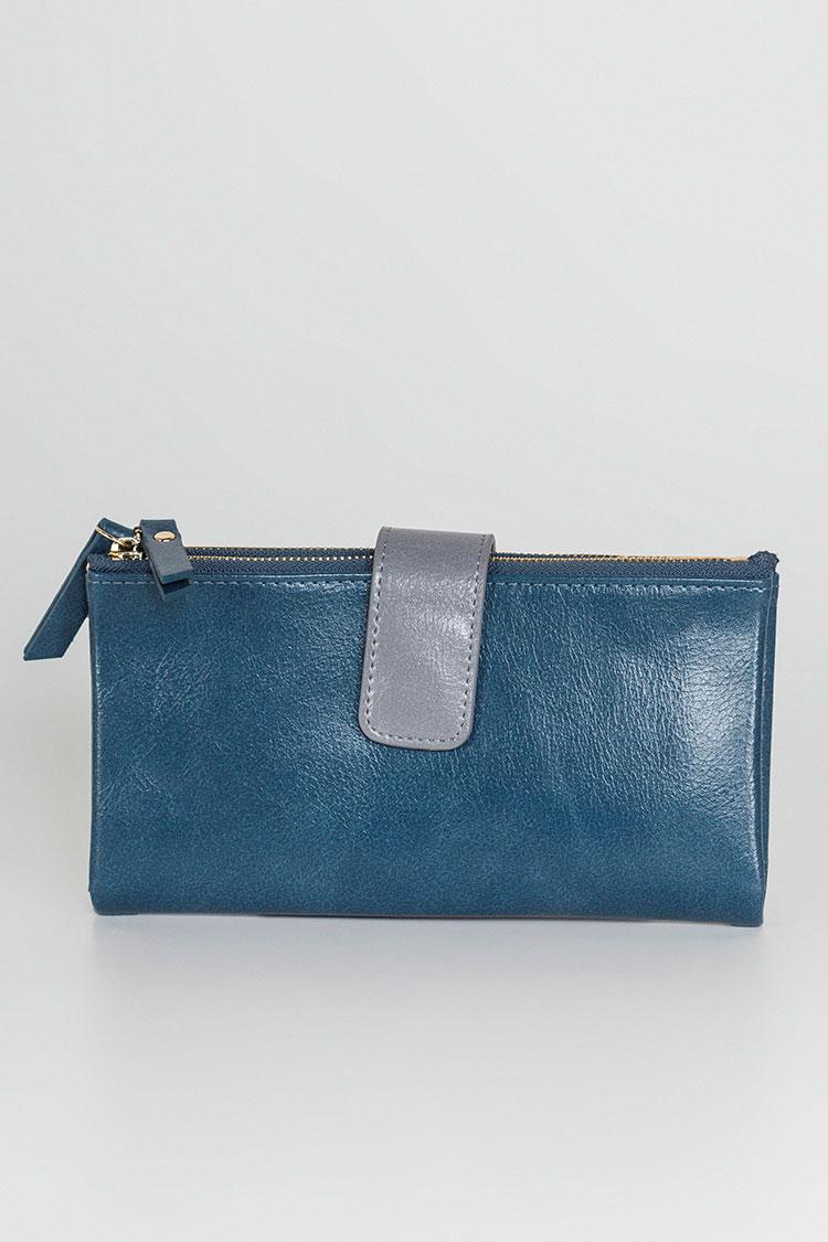 Гаманець жiночий з екошкіри синiй, модель J 9038