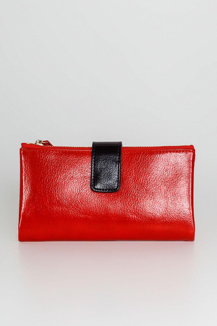 Гаманець жiночий з екошкіри червоний, модель J 9038