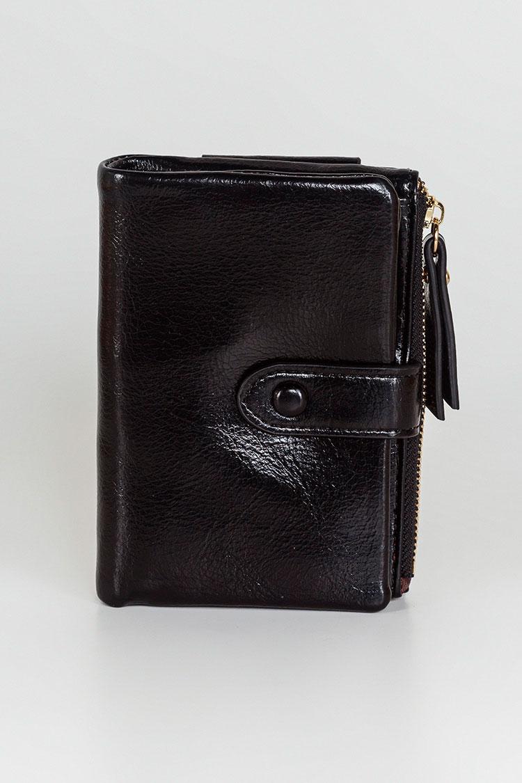 Гаманець жiночий з екошкіри чорний, модель 2016/Ч