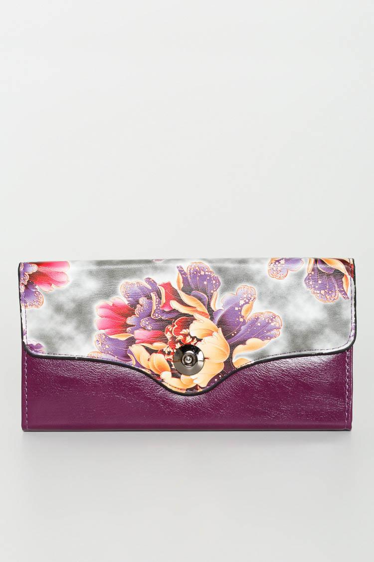 Гаманець жiночий з екошкіри фіолетовий, модель 703-2