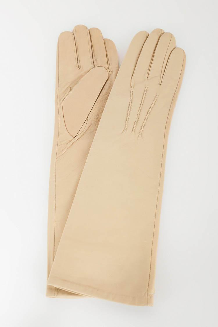 Перчатки женские из натуральной кожи бежевые, модель 706-10-40см
