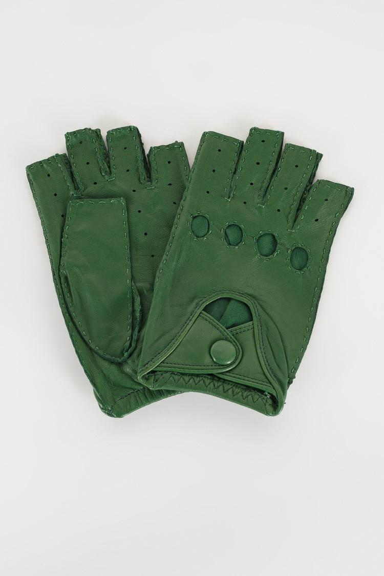 Перчатки женские из натуральной кожи зеленые, модель 905M-K/спорт