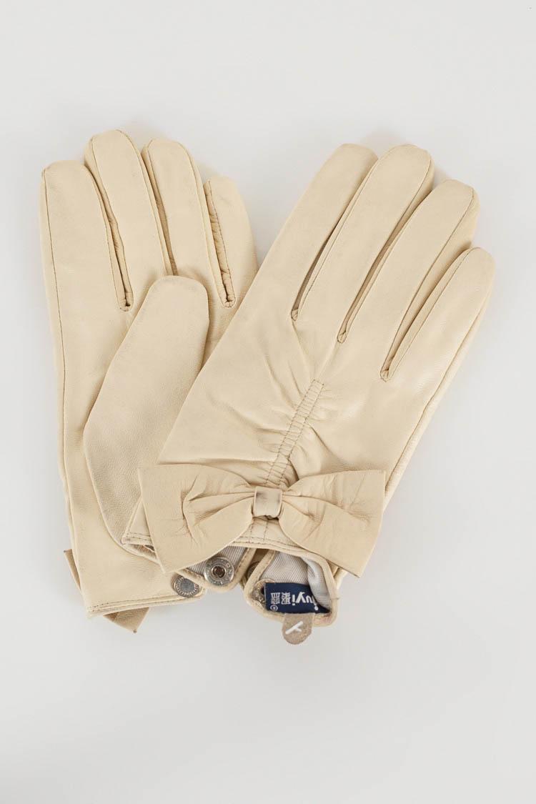 Перчатки женские из натуральной кожи бежевые, модель X-07/резинк/бант/автоледи