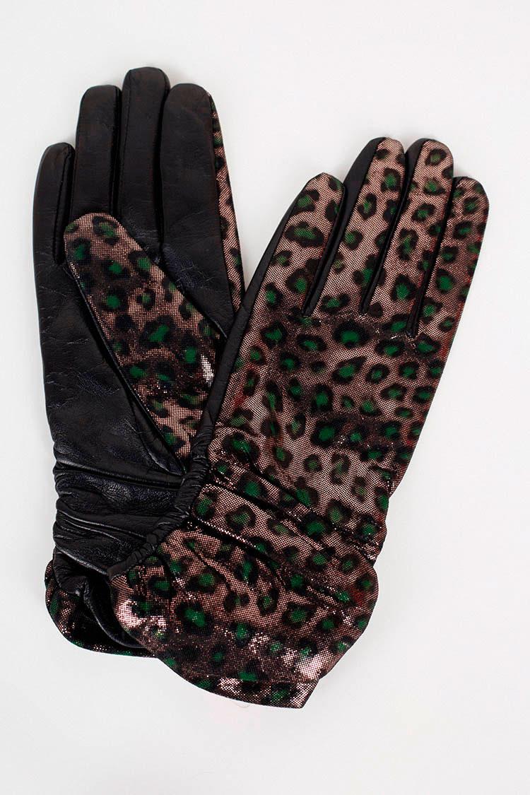 Перчатки женские из натуральной кожи черные, модель 111/лазер