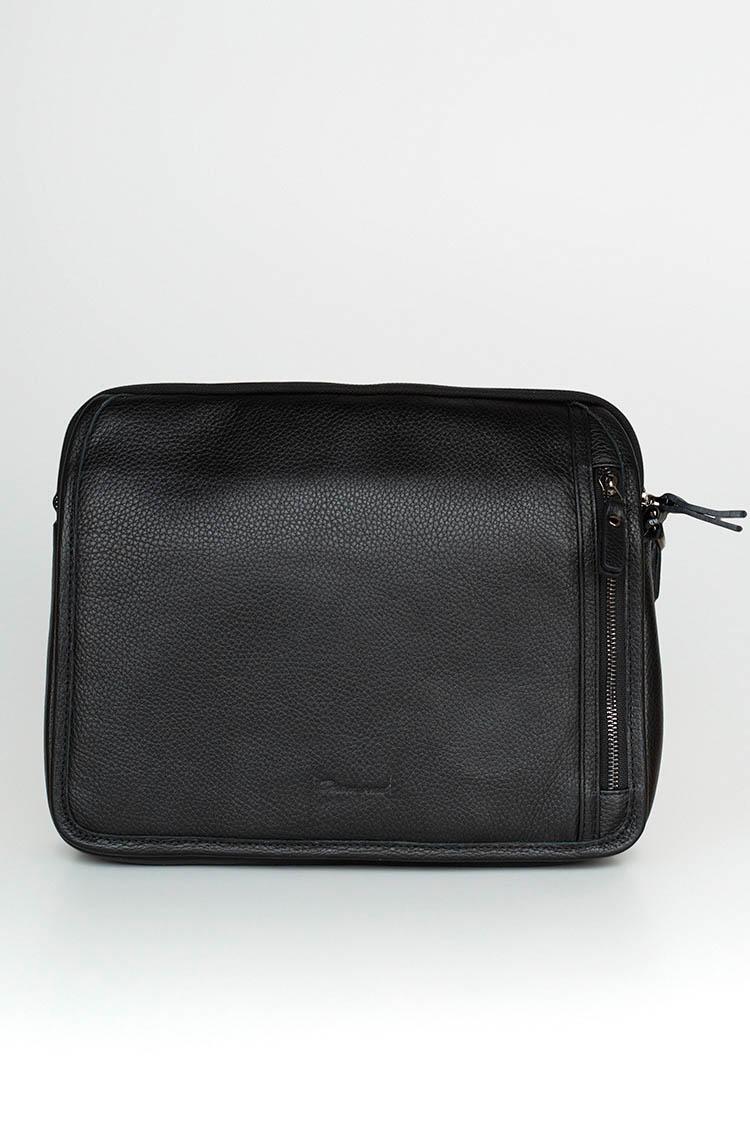 Сумка мужская из натуральной кожи черная, модель 5068-2
