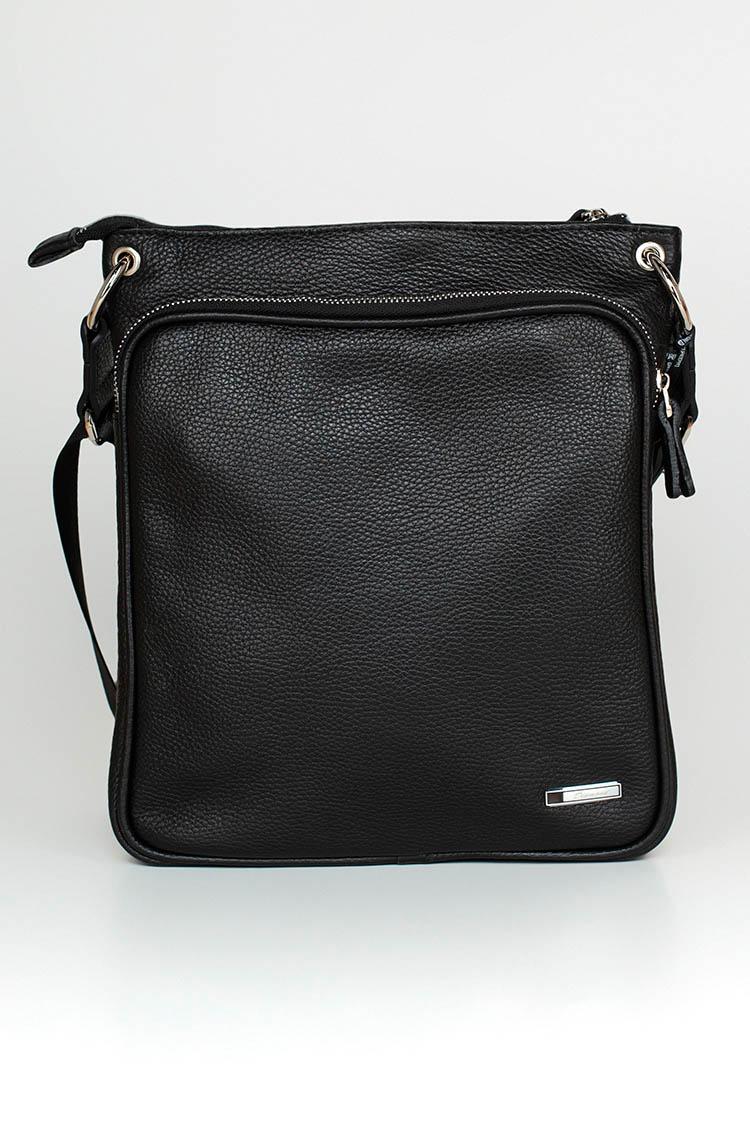 Сумка мужская из натуральной кожи черная, модель 5510