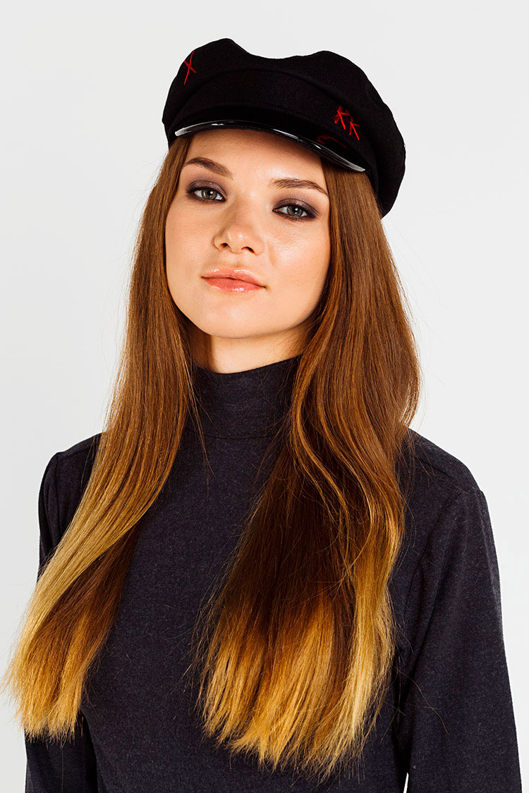 Шапка женская из кашемира черная, модель кепка/RR