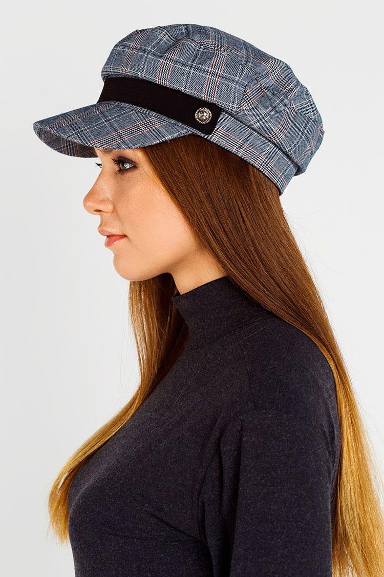 Шапка женская из трикотажа серая, модель кепка/клетка