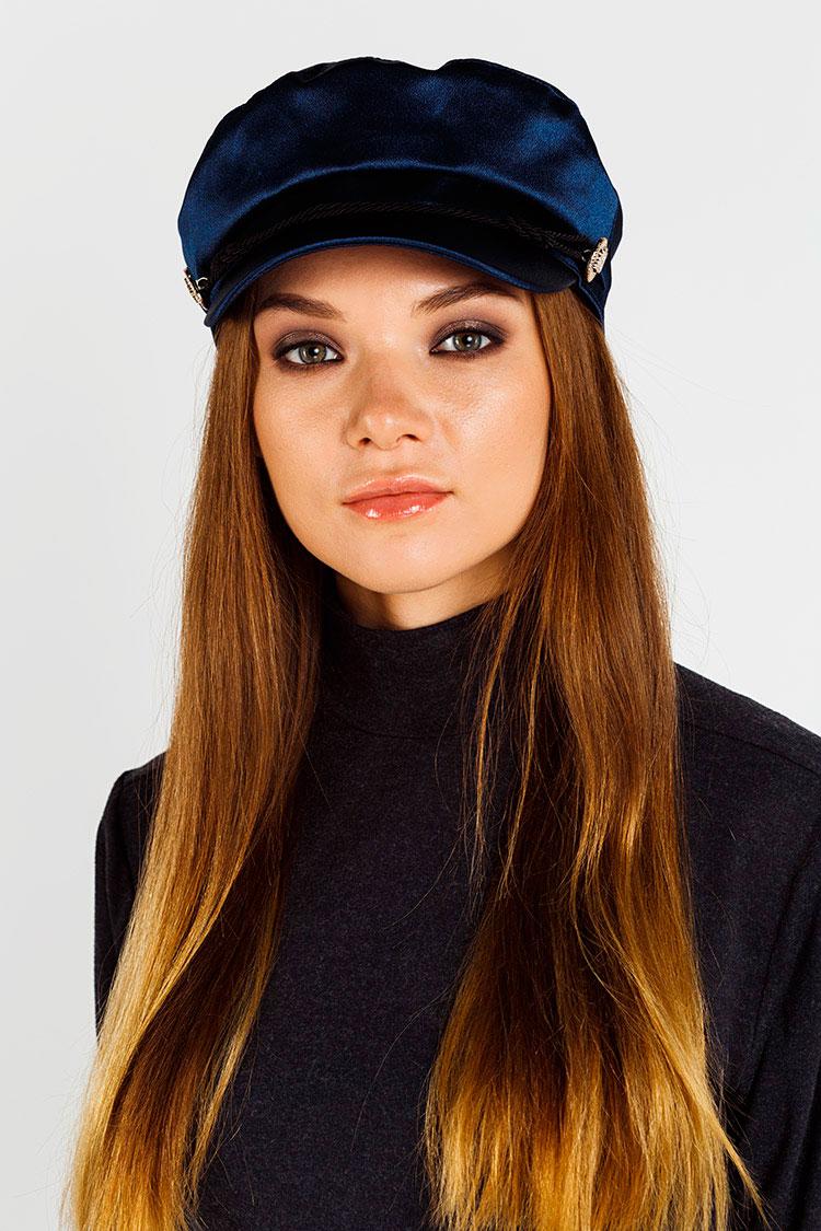 Шапка женская из атласа синяя, модель кепка/пуговица