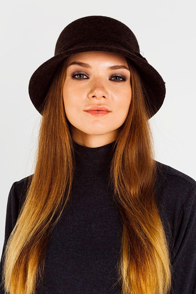 Шапка жiноча з вовни коричнева, модель шляпка/ленты
